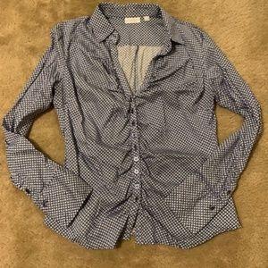 NY & Co Stretch Dress Shirt Blue Print XL